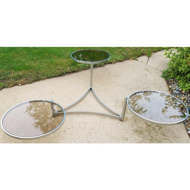 Milo Baughman Tri Level Chrome and Glass Swivel Coffee Table - Image 6 of 11