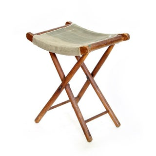Canvas and Wood Folding Stool