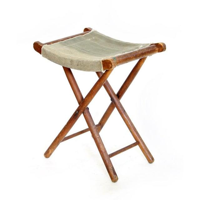 Canvas And Wood Folding Stool Chairish