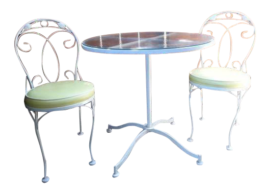Vintage Meadowcraft White Wrought Iron Bistro Table U0026 Chairs  Set ...
