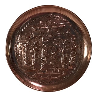 Mid-Century Hanging Etched Copper Plate