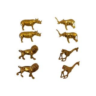 Solid Brass Animal Napkin Rings - Set of 8