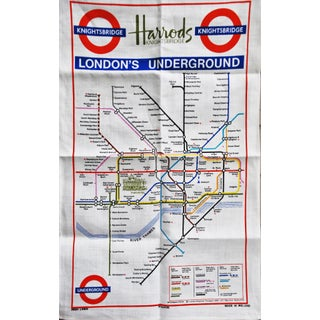 Vintage Harrod's London Underground Knightsbridge Tea Towel