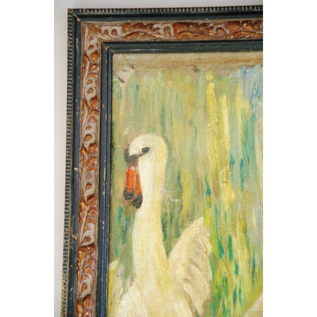 1940s French Oil Painting of Female Nude W/ Swan - Image 5 of 7