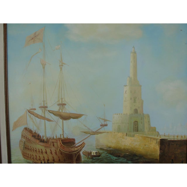 """""""Merchant Ship in Port"""" Painting - Image 4 of 10"""
