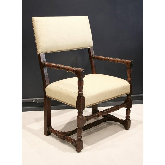 17th Century Flemish Walnut & Raw Silk Upholstered Elbow Chairs - A Pair - Image 2 of 9