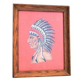 Native American Chief Needlepoint Art