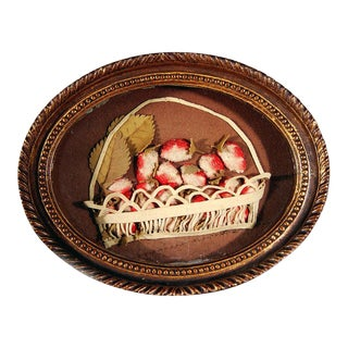 American Applique Picture of a Basket of Fruit.