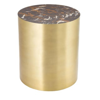 Brass & Marble Conan Drum Table, Large