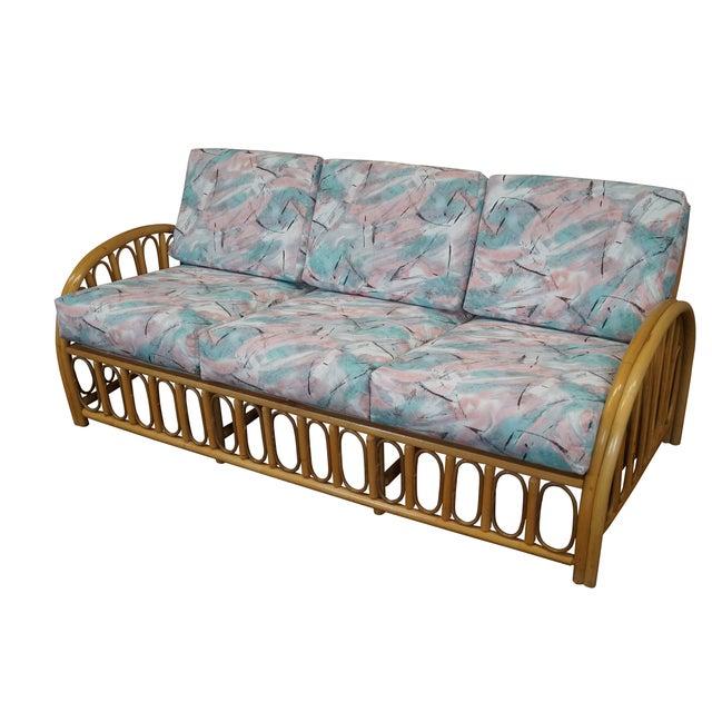 Curved Rattan Garden Sofa: Vintage Curved Arm Bamboo Rattan Long Sofa