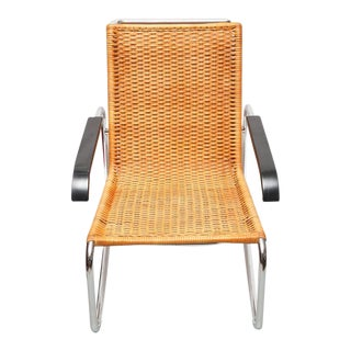 Marcel Breuer for Thonet B35 Rattan Lounge Chair with Changeable Armrests