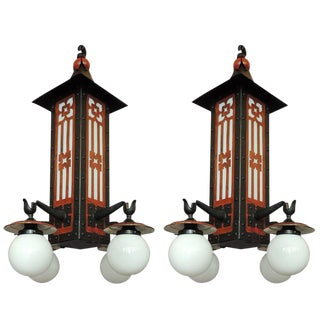 Monumental Pair of Early 20th C French Chinoiserie Pagoda Lanterns