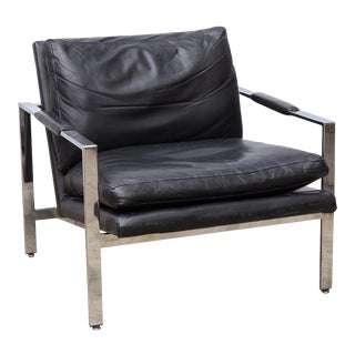 Milo Baughman Chrome Leather Lounge Chair