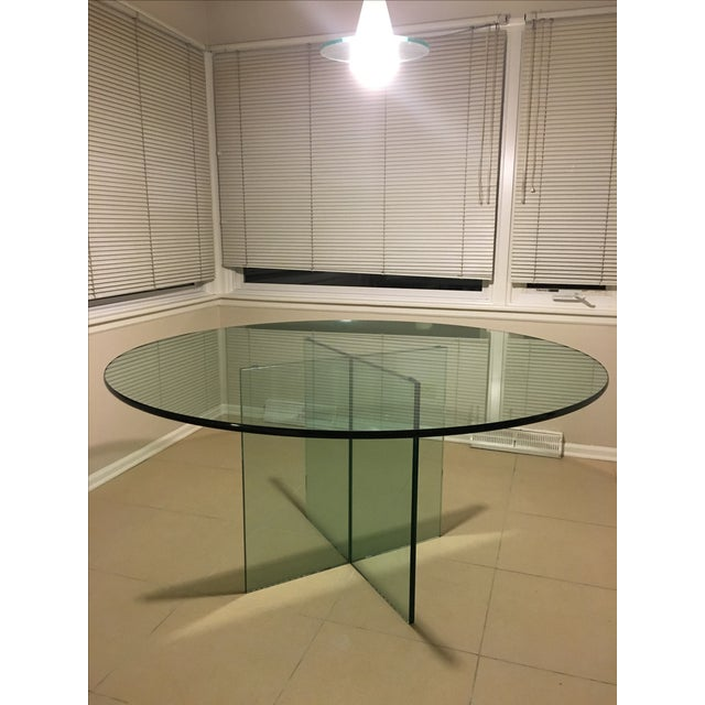 X-Base Round Top Glass Dining Table - Image 2 of 7
