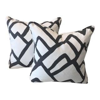 Schumacher Zimba Charcoal Pillows - A Pair