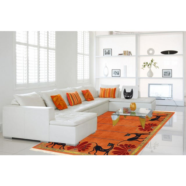 Vintage Tibetan Orange with Black Cats Rug - 8′3″ × 10′2″ - Image 7 of 7