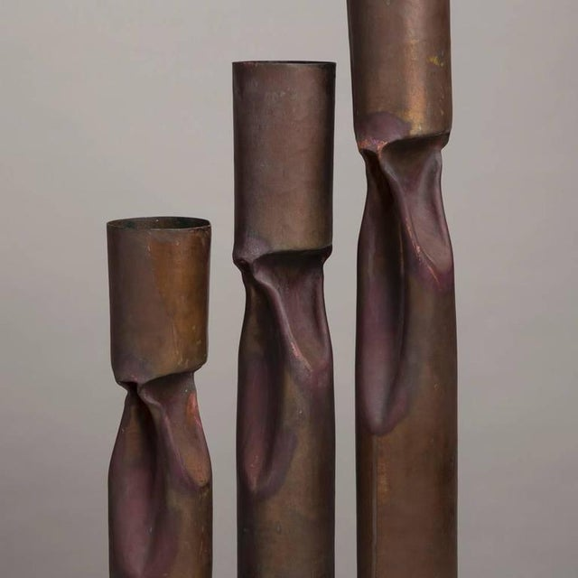 Image of Set of Three Oversized Brutalist Copper Vases, Stamped