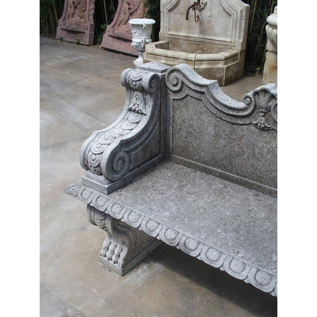 Carved Limestone Garden Bench from Northern Italy - Image 4 of 11