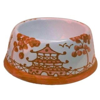 Bittersweet Orange Chinoiserie Dog Bowl