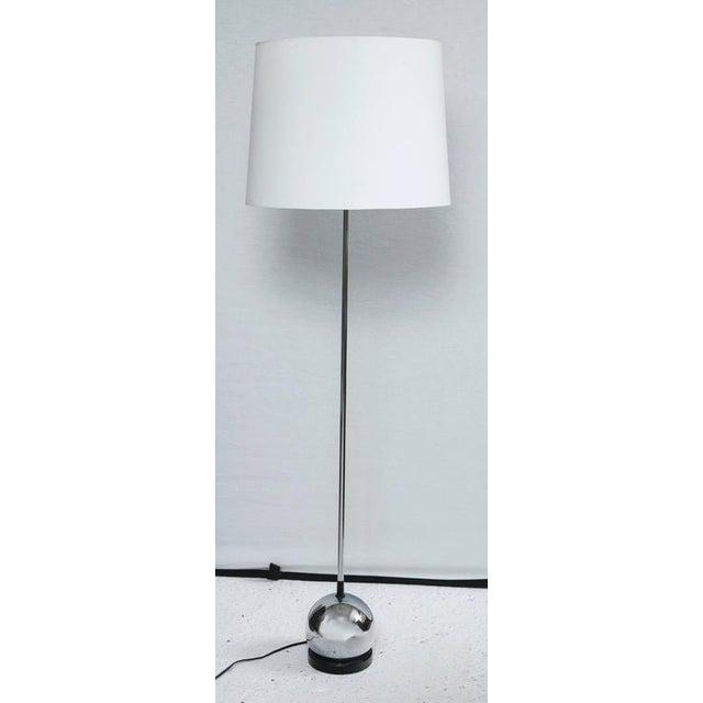 Petite Mid-Century Chrome Ball Base Floor Lamp Attributed to Robert Sonneman - Image 2 of 4