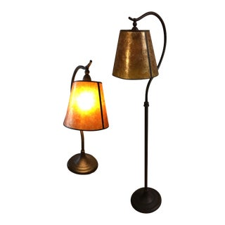 Pottery Barn Mica Floor & Table Lamp - A Pair