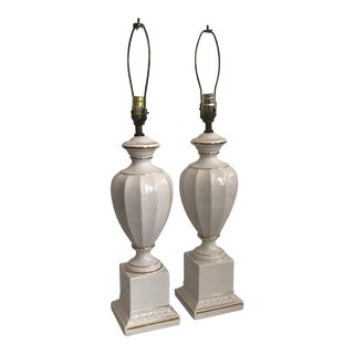 Lamps - Vintage White Table Lamps - a Pair