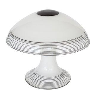 Italian Black and White Murano Swirl Glass Table Lamp
