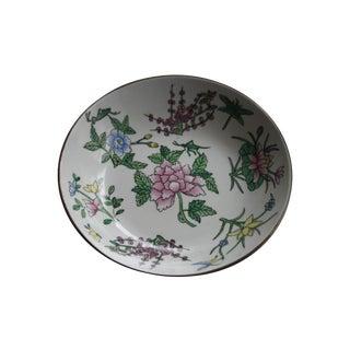 Brass Encased Porcelain Asian Floral Bowl