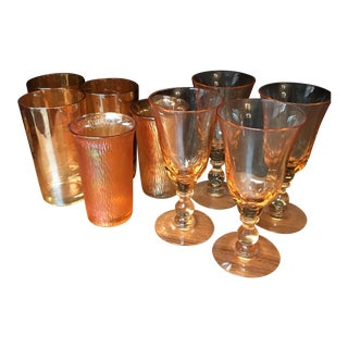 Peach Glass Barware Assortment - Set of 9