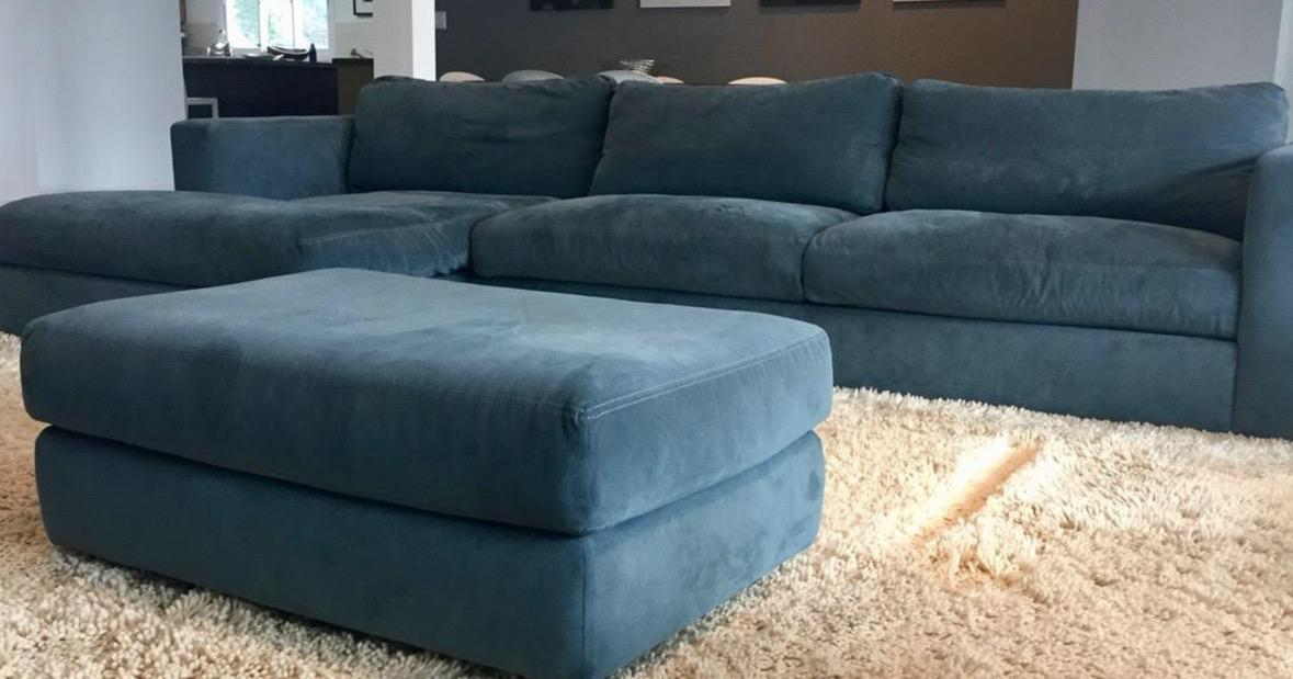 DWR Reid Sectional Chaise With Matching Ottoman   Image 4 Of 9