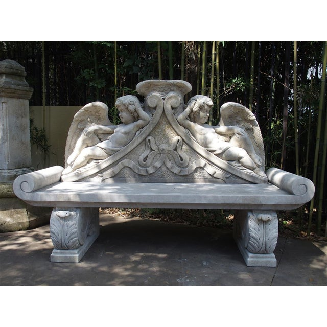 Winged Cherubs Carved Limestone Garden Bench from Italy - Image 2 of 11