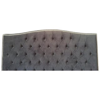 Custom Modern Black Velour Tufted Queen Bed
