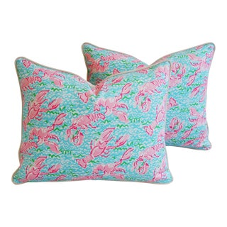 Summer Sale!! Lilly Pulitzer-Inspired/Style Nautical Pink & Red Lobster Pillows - Pair