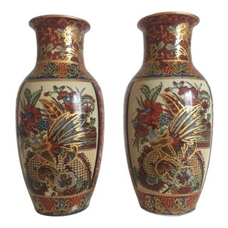 Vintage Satsuma Style Japanese Ceramic Gold Leaf Vases - A Pair