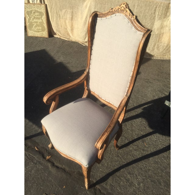 Distressed French Provincial Nailhead Trim Armchair - Image 2 of 5