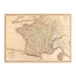 Antique 1838 Map of France