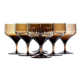 Mid Century Brown Ovoid Glass Coupes - Set of 7