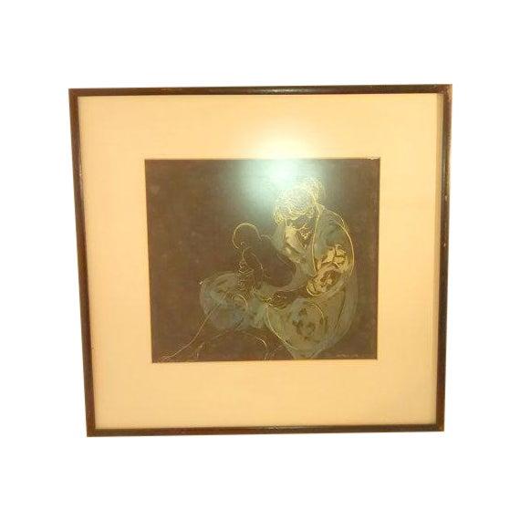 Abstract Painting Joe Capozio Woman Child - Image 2 of 7
