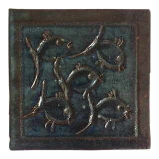 Mid-Century Art Studio Pottery Fish Tile, Trivet