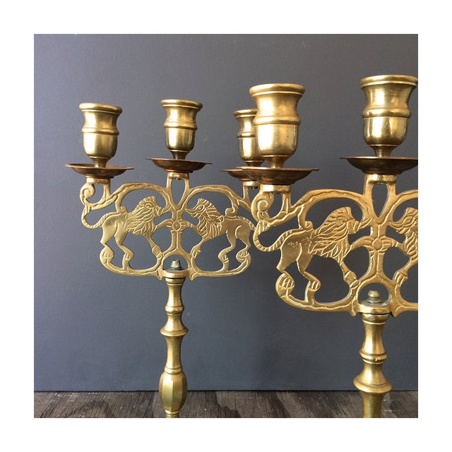 Brass Candelabra Candelabra With Lions - Pair - Image 4 of 6