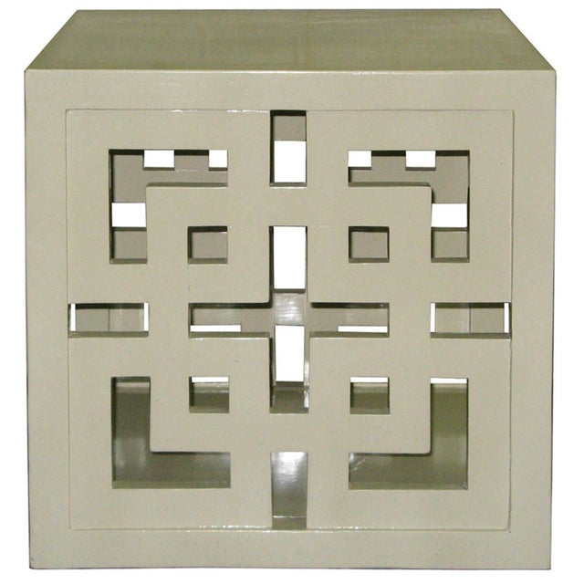 Cube Table - Creme Lacquered Lattice Panel - Image 2 of 2