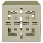 Image of Cube Table - Creme Lacquered Lattice Panel