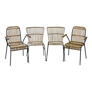 Woven Rattan & Wrought Iron Armchairs - Set of 4
