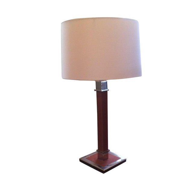 Ralph Lauren Saddle Leather and Chrome Table Lamp - Image 1 of 4