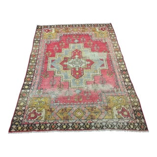 "Vintage Turkish Anatolian Area Rug - 3'10 1/2"" x 5'9"""