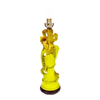 Early Asian Figural Table Lamp, Chalkware