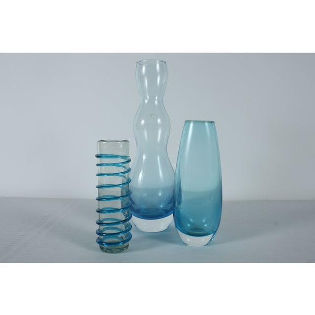 Handblown Blue Art Glass - Set of 3 - Image 2 of 3