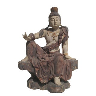 Chinese Antique Sitting KwanYin Statue