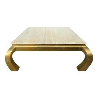 Mid-Century Springer Style Brass & Travertine Coffee Table