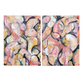 """Figurative Landscape II, Mixed Media On Canvas - Diptych 60 x 40"""""""